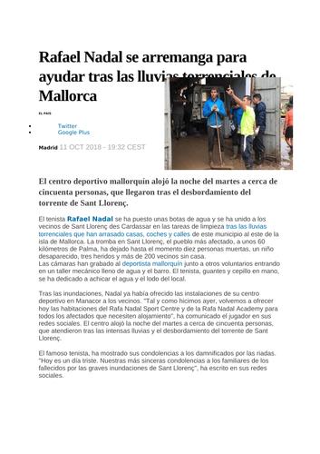 Rafa nadal article- Helping in Mallorca
