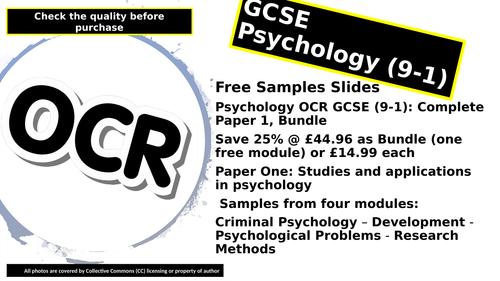 Psychology OCR GCSE > FREE SAMPLE SLIDES < (9-1): Complete Paper 1, in one Bundle,