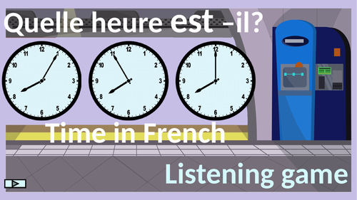Time in French.  Quelle heure est-il? Game.