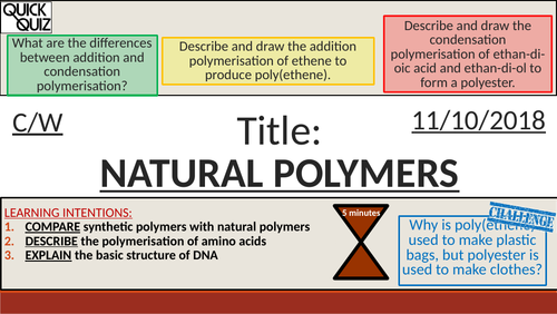 KS4 New GCSE (9-1) - Natural Polymers + DNA (AQA C11.2-11.3 Polymers)