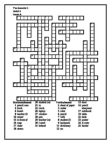 T'es branché 1 Unité 3 Leçon A Crossword by jer520