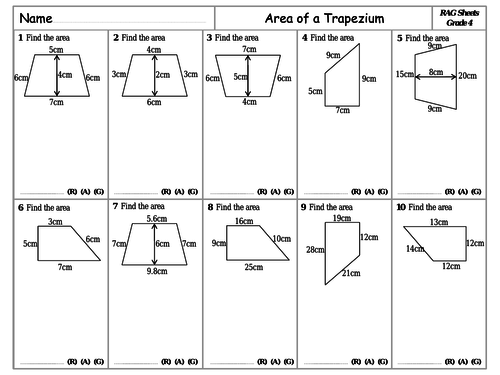 RAG Sheets - Area of a Trapezium