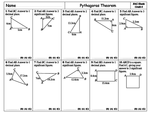 RAG Sheets - Pythagoras Theorem