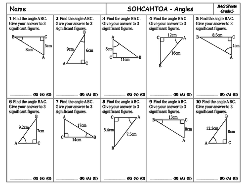 RAG Sheets - Trigonometry - SOHCAHTOA Angles