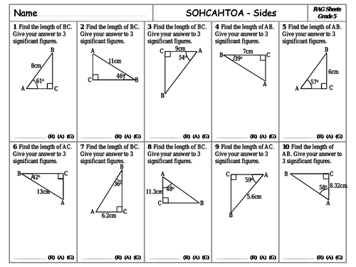 RAG Sheets - Trigonometry - SOHCAHTOA Sides
