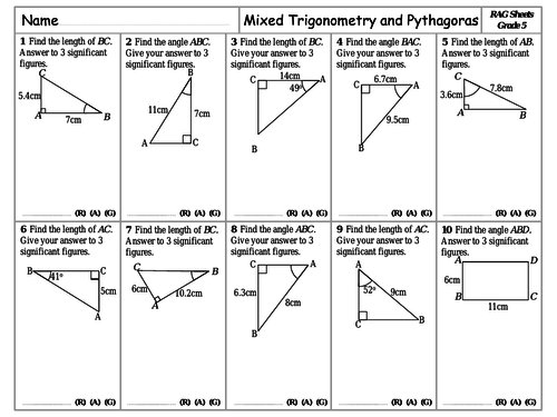 RAG Sheets - Mixed Pythagoras and Trigonometry