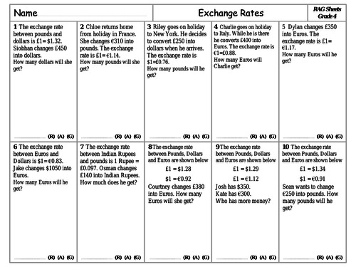 RAG Sheets - Exchange Rates