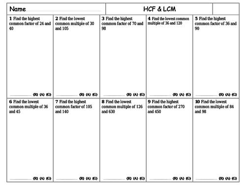 RAG Sheets - HCF & LCM