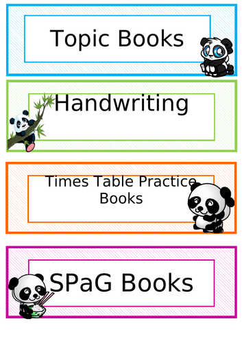 Panda themed classroom organisation resources