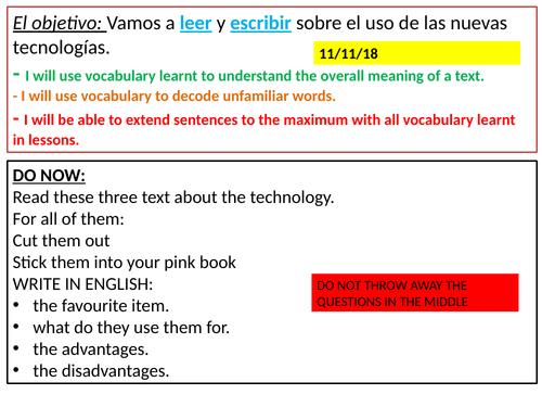 Writing& Reading about Technology/ Escribir sobre la tecnología