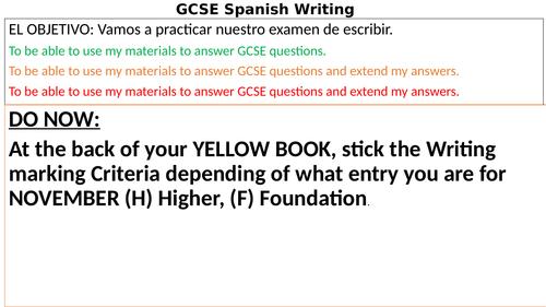 GCSE Spanish AQA Writing practise in Class