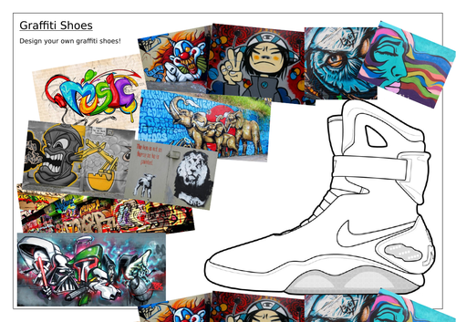 Graffiti Shoes Worksheets, Art/DT Cover work