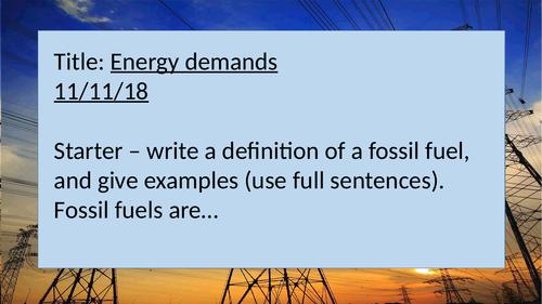Energy Demands AQA P3 GCSE