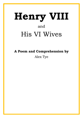 Year 5/6 Henry VIII Poem and Reading Comprehension - Six Wives