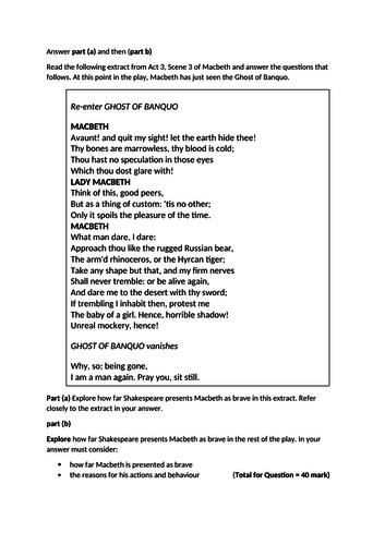 Macbeth mock exam with full model answer GCSE English Literature NEW Edexcel 1-9 SPEC