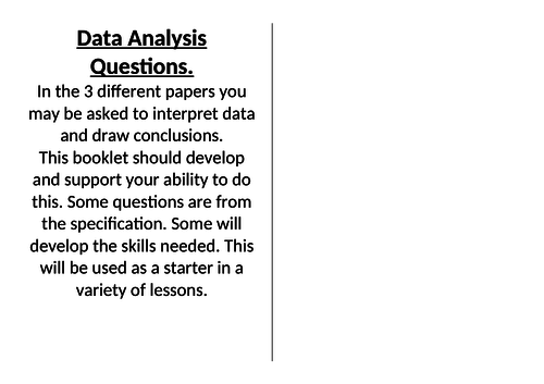 OCR PE A LEVEL. DATA ANALYSIS PRACTICE BOOKLET.