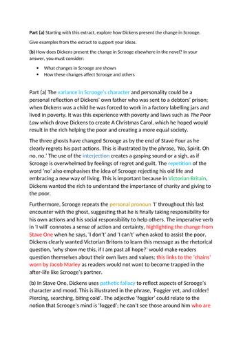 A Christmas Carol Example Response with Mock Exam Paper Edexcel NEW 1-9 SPEC