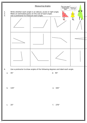 KS3 Worksheet - Angles (Lines & Angles)