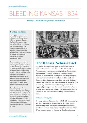 Bleeding Kansas Study Guide