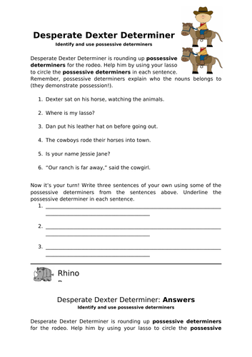 Desperate Dexter Determiner KS2 Worksheet
