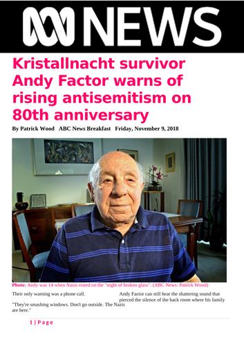 Ezine article - Kristallnacht survivor Andy Factor warns of rising antisemitism on 80th anniversary