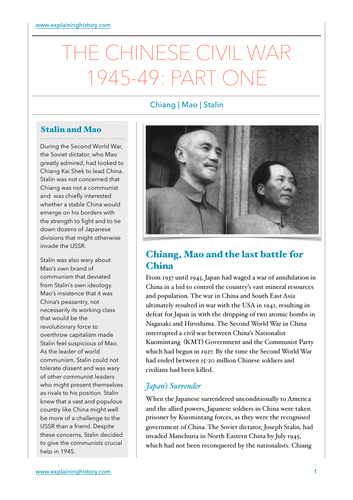 Chinese Civil War PT1 Study Guide