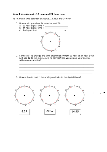 Maths Assessment - Year 4 - Convert time between analogue, 12 hour and 24 hour