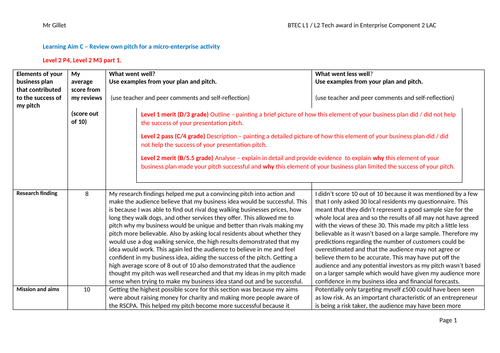 BTEC tech award in Enterprise level 1 / 2 example coursework answer for component 2 learning aim C