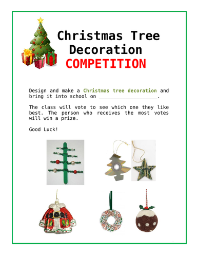 Christmas Tree Decoration Competition!