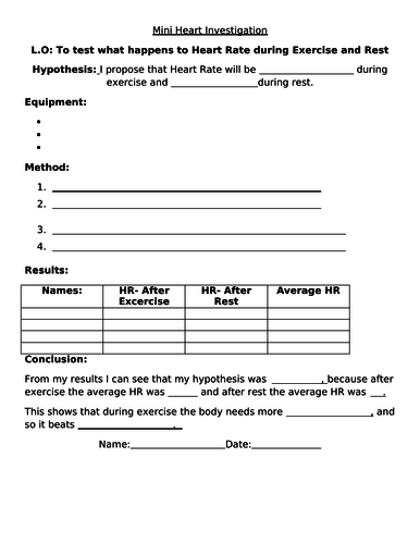 SEN Quick and easy heart investigation worksheet