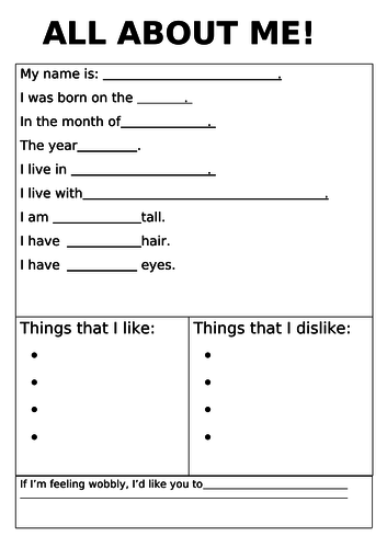 SEN- ALL ABOUT ME- class cohesion activity and sharing of their personal likes/dislikes