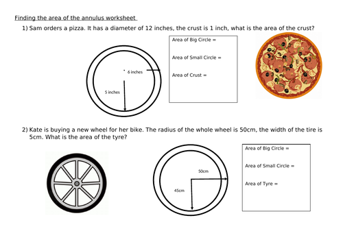 Area of Annulus - Scaffolded Worksheet (w. Answers)