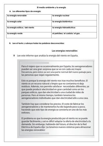 Spanish GCSE el medio ambiente: longer reading, vocabulary & translation la energía eólica