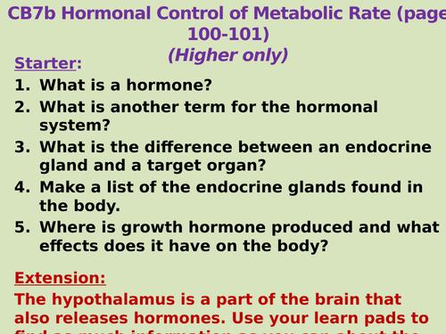 CB7b (SB7b) Hormonal Control of Metabolic Rate