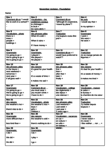 GCSE French F&H Daily Revision Challenge - November