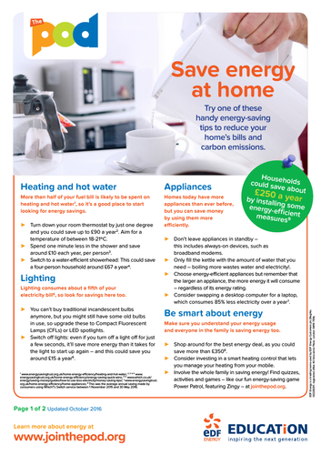 Save energy at home fact sheet