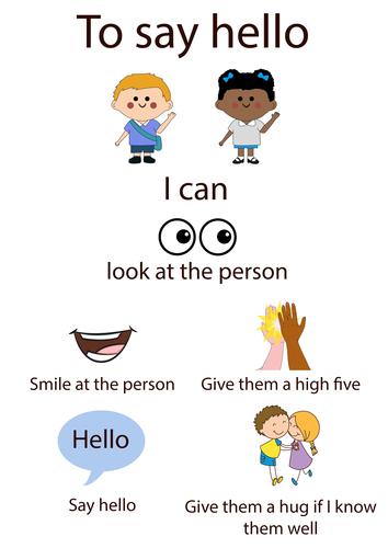 Social story for saying hello