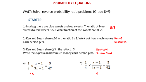 Probability tree with ratio/equation