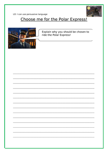 Polar Express Peruasive writing and Reading Challenge