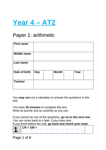 Year 4 - Autumn Term 2 Arithmetic and Reasoning & Problem Solving Assessment (WRMH)