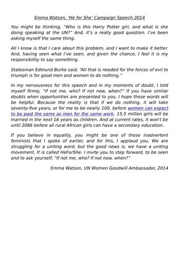Emma Watson UN Speech