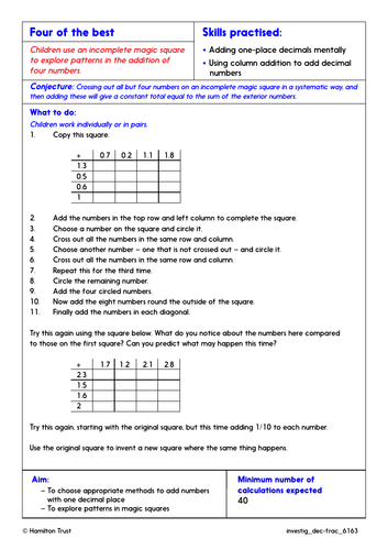 Problem-Solving Investigation: Add or subtract decimals (Year 6 Decimals & Fractions)