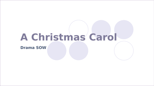 A practical Christmas Carol SOW (suitable for Drama or English)