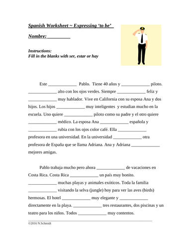 Ser or Estar Spanish Worksheet (Differentiated Cloze Activity)