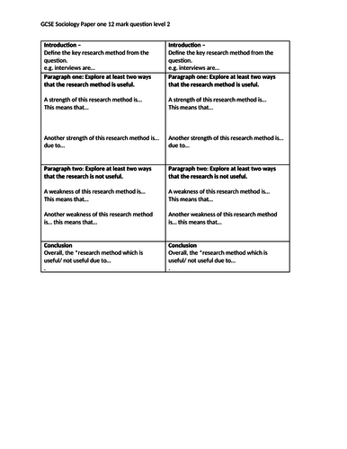 Differentiated structure strips to help student with new paper 1 WJEC/Eduquas GCSE Sociology