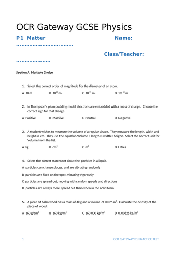 Matter, Particle Model and Gas Pressure Test (OCR Gateway P1, but also for other exam boards)