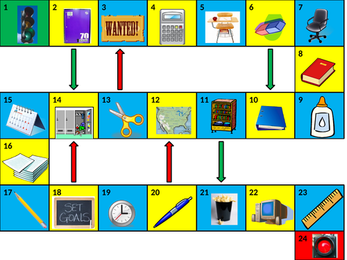 School Objects Game Board PowerPoint