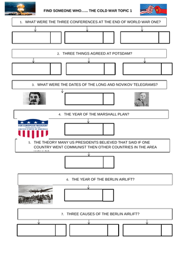 GCSE History Superpower Relations and the Cold War Find Someone Who Kagan Activity