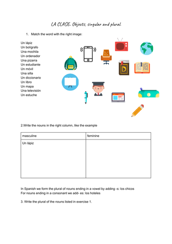 Classroom objects. Singular and plural. Worksheet and memory game