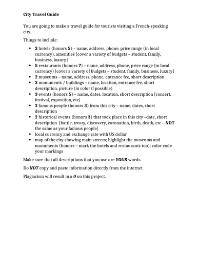 City Travel Guide Project and Rubric